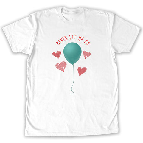 Function -  Valentine's Day Never Let Me Go Balloon Men's Fashion T-Shirt White