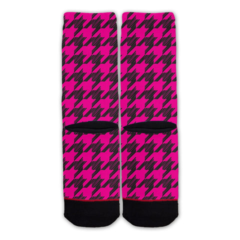 Function - Pink Hounds tooth Fashion Socks