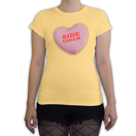 Function -  Valentine's Day Side Chick Candy Heart Women's Fashion T-Shirt Yellow
