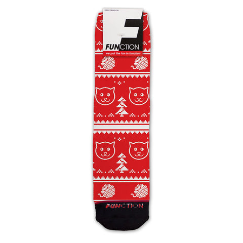 Function - Ugly Christmas 8 Bit Cat Fashion Socks
