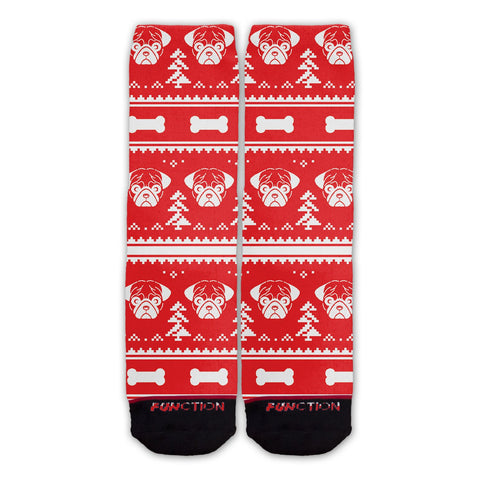 Function - Ugly Christmas 8 Bit Pug Socks