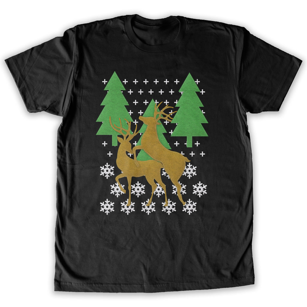 Function -  Ugly Christmas Faux Felt Humping Reindeer Men's Fashion T-Shirt Black