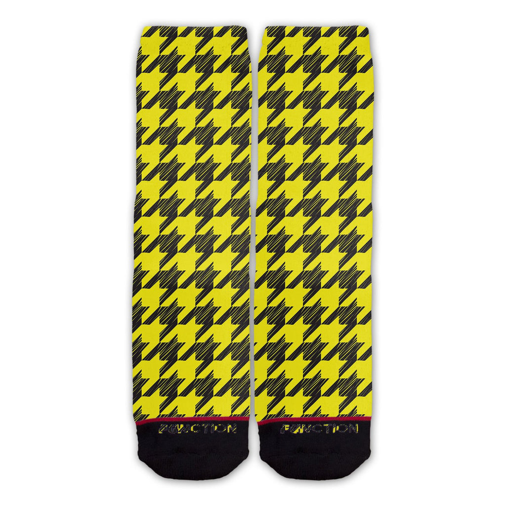 Function - Yellow Hounds tooth Fashion Socks