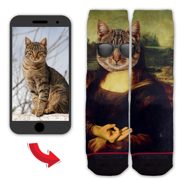 Function - Custom Mona Lisa Face Dog Cat Person Circle Game Fashion Socks