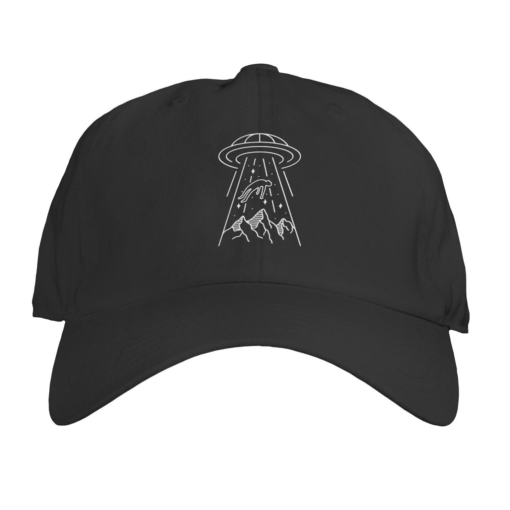 Function - UFO Alien Abduction Line Art Black Embroidered Dad Hat