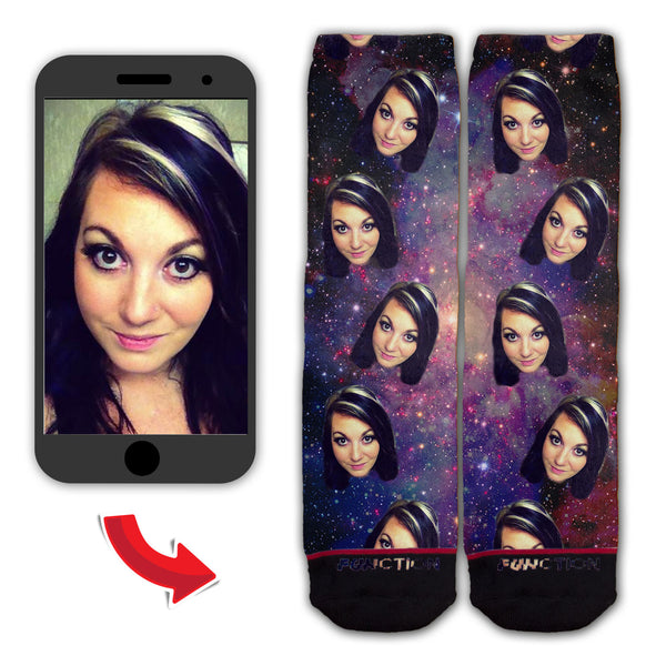 Function - Custom Face In Space Galaxy Socks Personalize Upload Your Photo Head