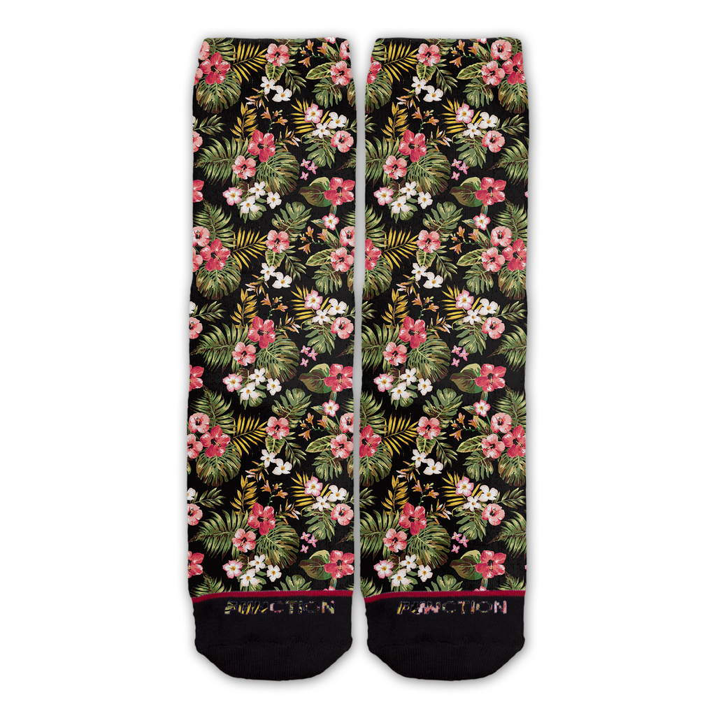 Function - Floral Palm Tree Leaves Pattern Novelty Fashion Socks Black