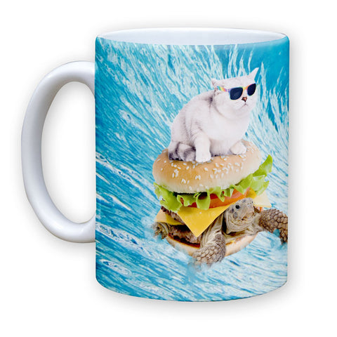 Function - Cat Surfing Turtle Burger 11 oz Coffee Mug
