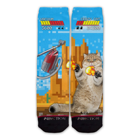 Function - Cat Vs Vacuum Video Game Fight Fashion Socks