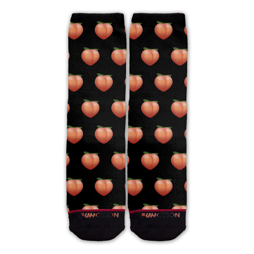 Function - Peach Emoji Black Pattern Sock