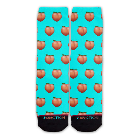 Function - Peach Emoji Teal Pattern Sock