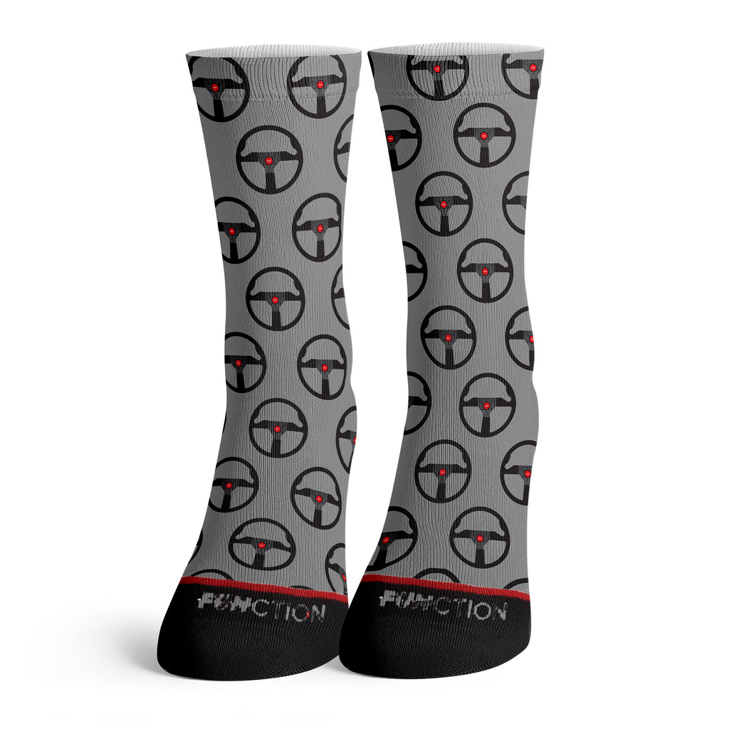 Function - Race car Steering Wheel Pattern Grey Socks