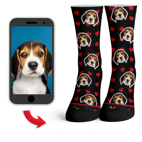 Function - Custom Dog Face Valentine's Day Heart Pattern Fashion Socks