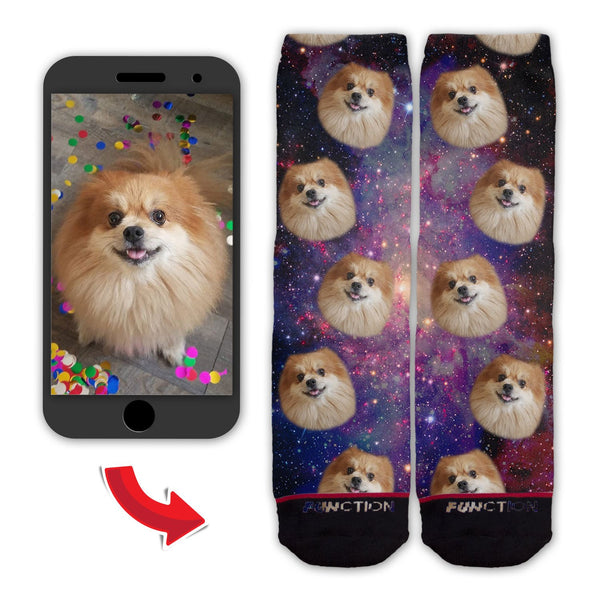 Function - Custom Animal Face In Space Galaxy Socks Dog Cat Pet Upload You Head