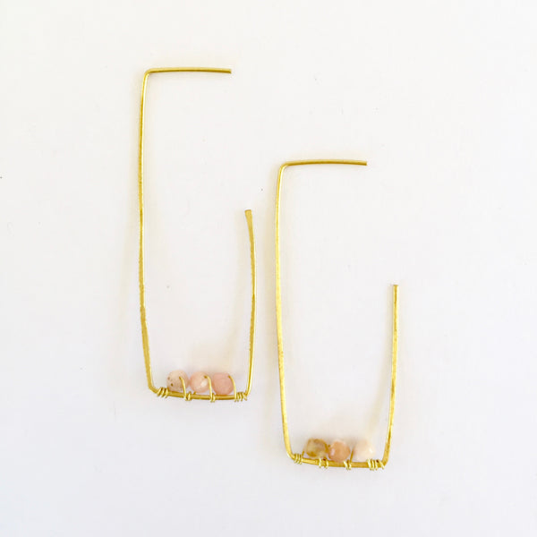 Amelia Earrings in Pink Opal