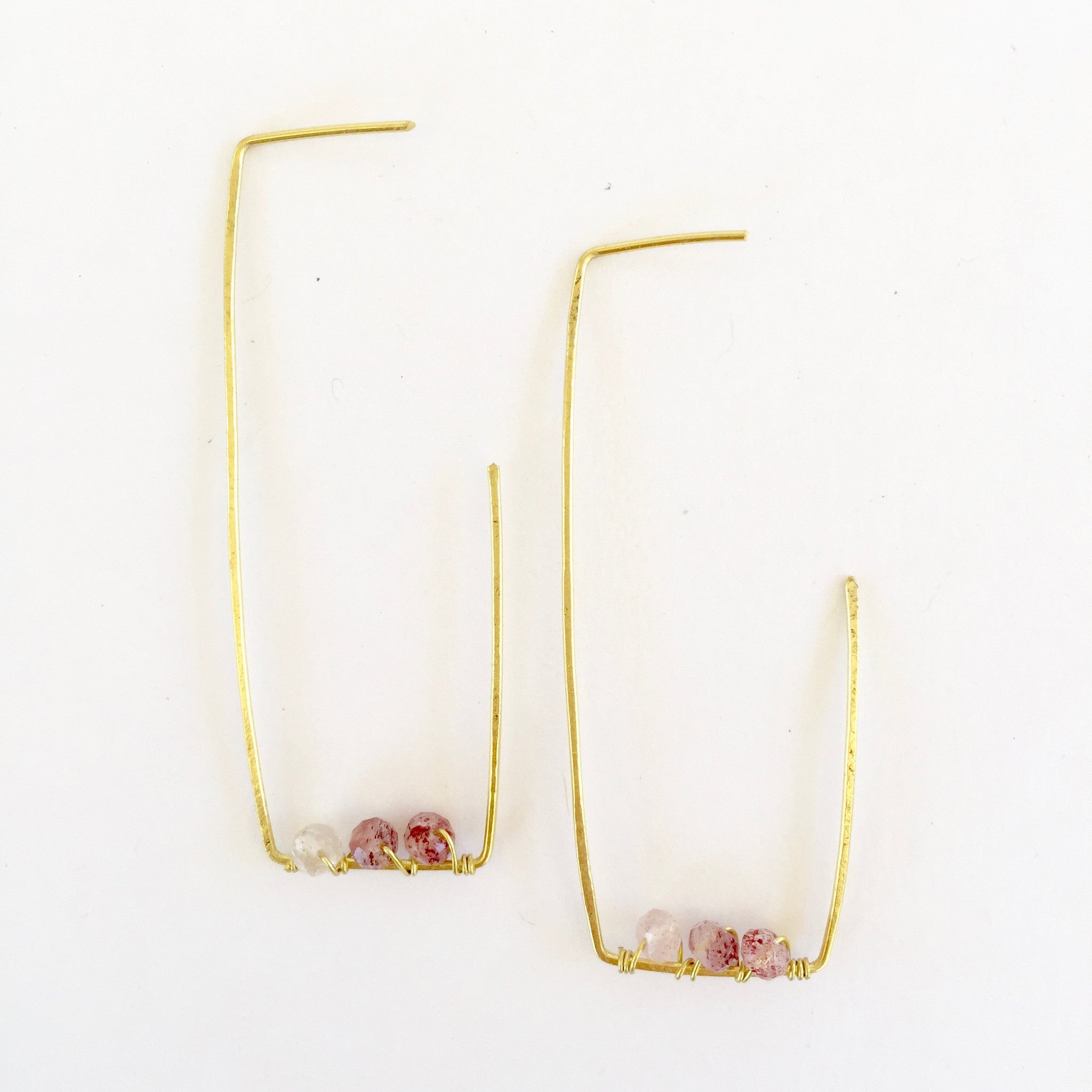 Amelia Earrings in Strawberry Quartz