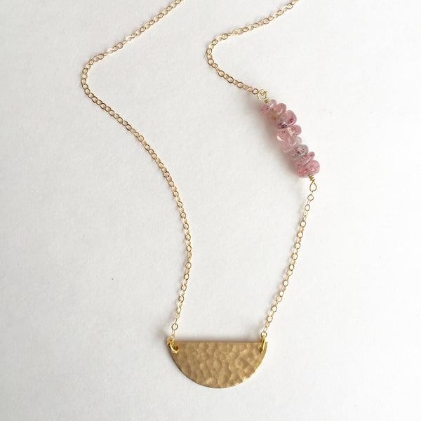 Charlie Necklace in Strawberry Quartz