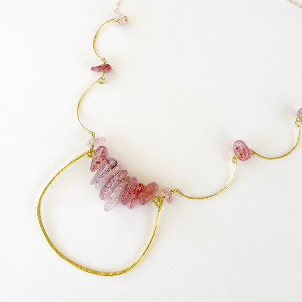 Charlotte Necklace in Strawberry Quartz