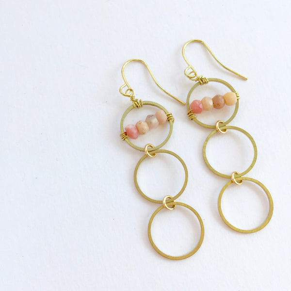 Layton Earrings in Pink Opal