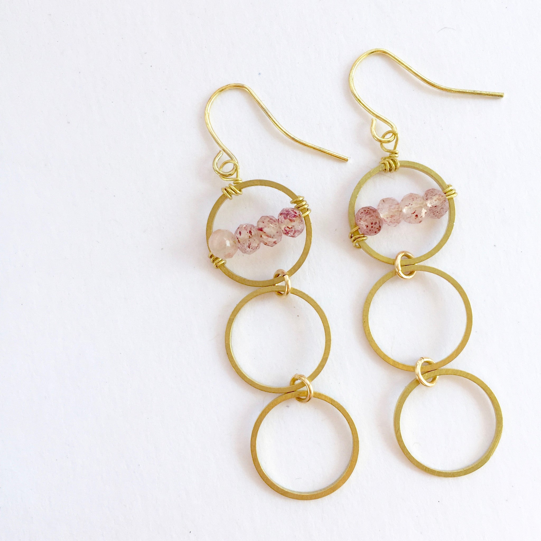 Layton Earrings in Strawberry Quartz