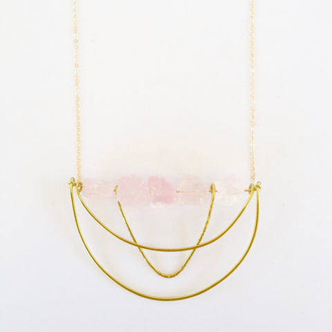 Piper Necklace in Rose Quartz