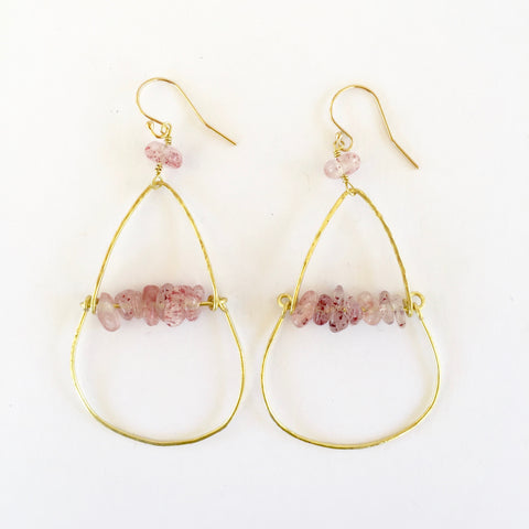 Piper Earrings in Strawberry Quartz
