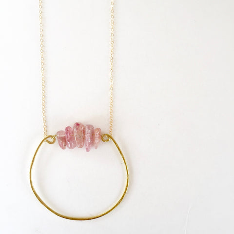 Rebecca Necklace in Strawberry Quartz
