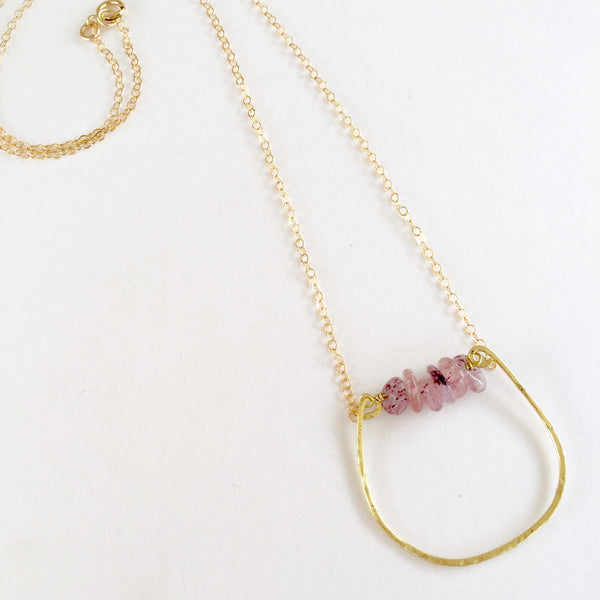 Mini Rebecca Necklace in Strawberry Quartz