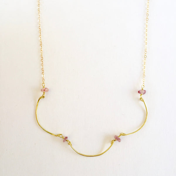 Mindy Necklace in Strawberry Quartz