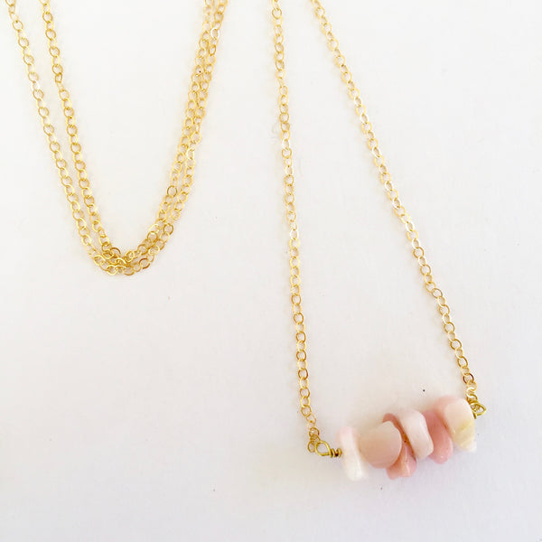 Shelly Necklace in Pink Opal