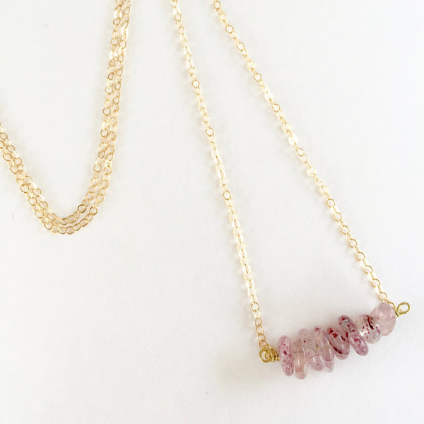 Shelly Necklace in Strawberry Quartz