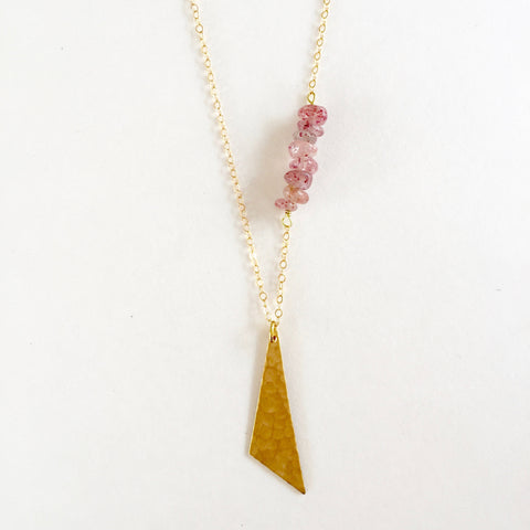 Harper Necklace in Strawberry Quartz