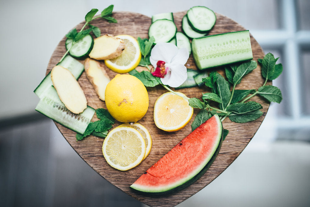 Melon, lemon and cucumber photo