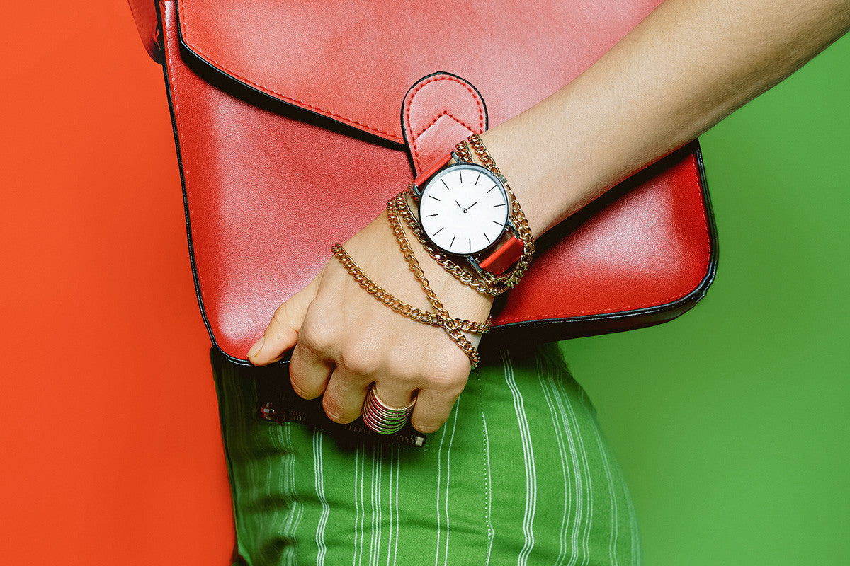 Red bag and green trousers fashion photo