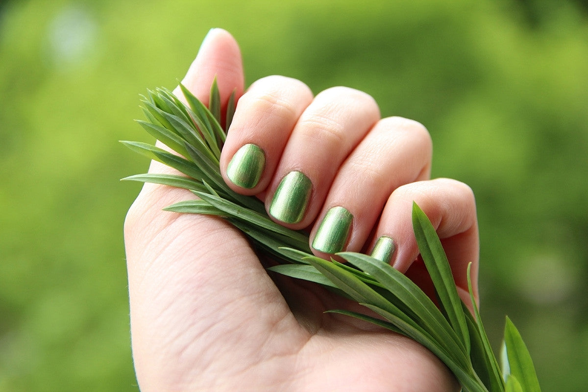 Photo of fingernails painted green