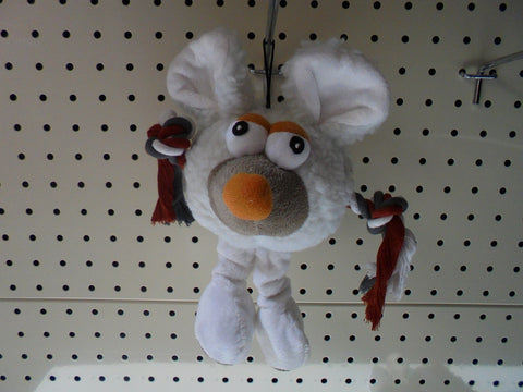 ~DOG TOY PLUSH MOUSE WHITE~
