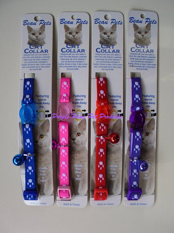 ~PAWS PATTERN NYLON CAT COLLAR 4 COLOURS~