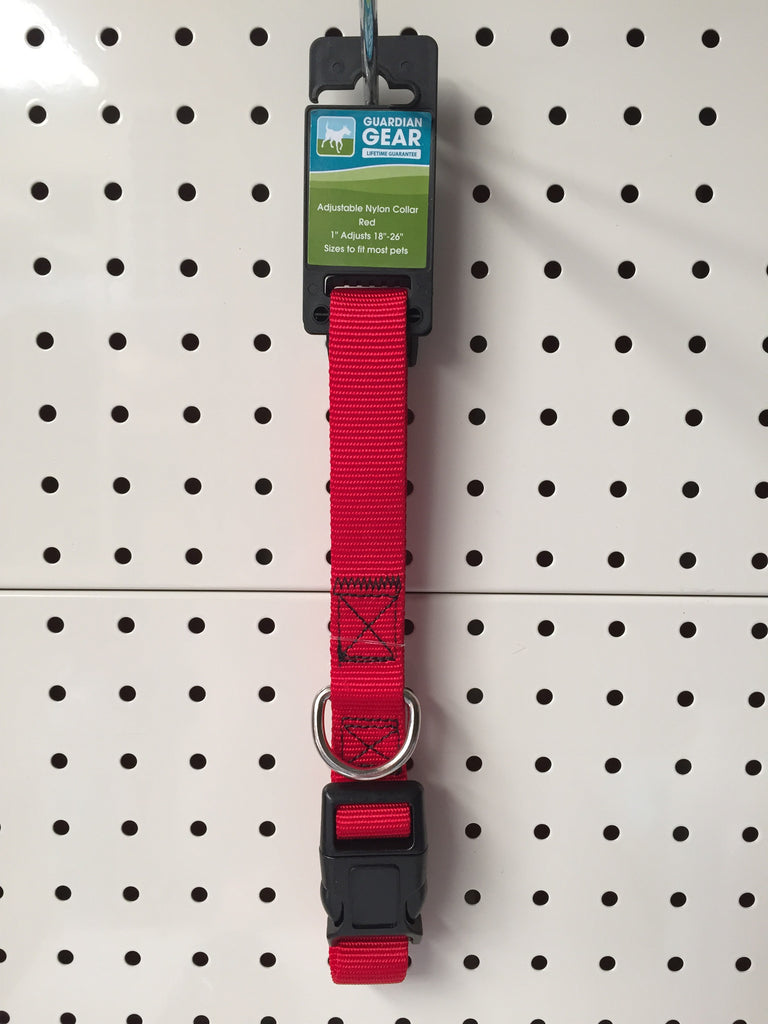 "~GUARDIAN GEAR ADJUSTABLE NYLON DOG COLLAR 18-26"" RED~"
