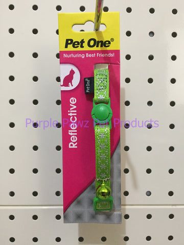 ~PET ONE / SNOW / REFLECTIVE / CAT COLLAR / GREEN~