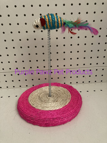 ~MOUSE ON SPRING / SISAL BASE / MINI CAT TOY~