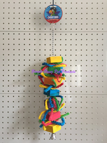 ~CHEEKY BIRD / HANGING BIRD / PARROT / COCKATIEL TOY / BLOCKS & ROPE / 50CM~