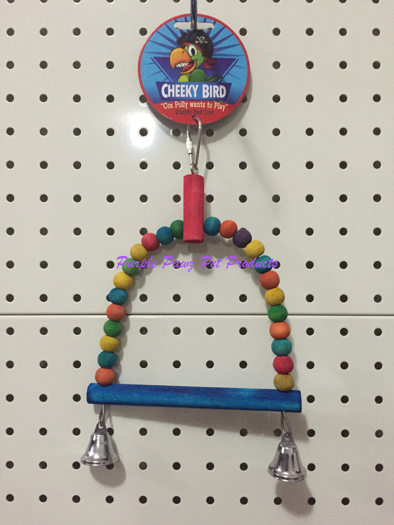 ~CHEEKY BIRD / HANGING BIRD / PARROT / COCKATIEL TOY / SML / WOODEN BALL / SWING 32CM~