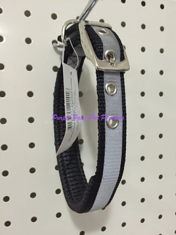 ~45CM NYLON NIGHTGLO PADDED DOG COLLAR BLACK~