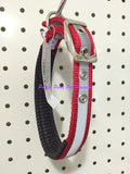 ~45CM NYLON NIGHTGLO PADDED DOG COLLAR RED~