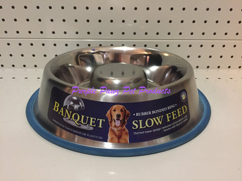 ~BANQUET / STAINLESS STEEL / SLOW FEED / DOG BOWL / 1.33LT~