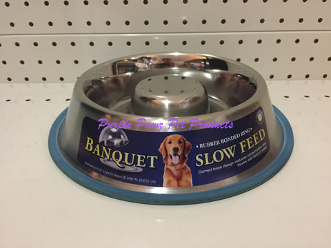 ~BANQUET / STAINLESS STEEL / SLOW FEED / DOG BOWL / 735ML~