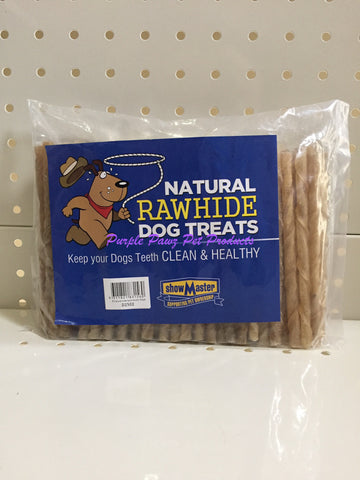"~NATURAL RAWHIDE / DOG TREATS / 100 PK / NATURAL / TWIST STICKS / 5""~"