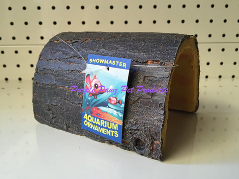 ~1/2 HOLLOW LOG / AQUARIUM ORNAMENT / 13CM x 10CM x 8CM~