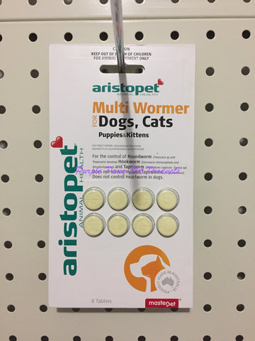 ~ARISTOPET / MULTI WORMER / FOR DOGS, CATS, PUPPIES & KITTENS / 8 TAB~