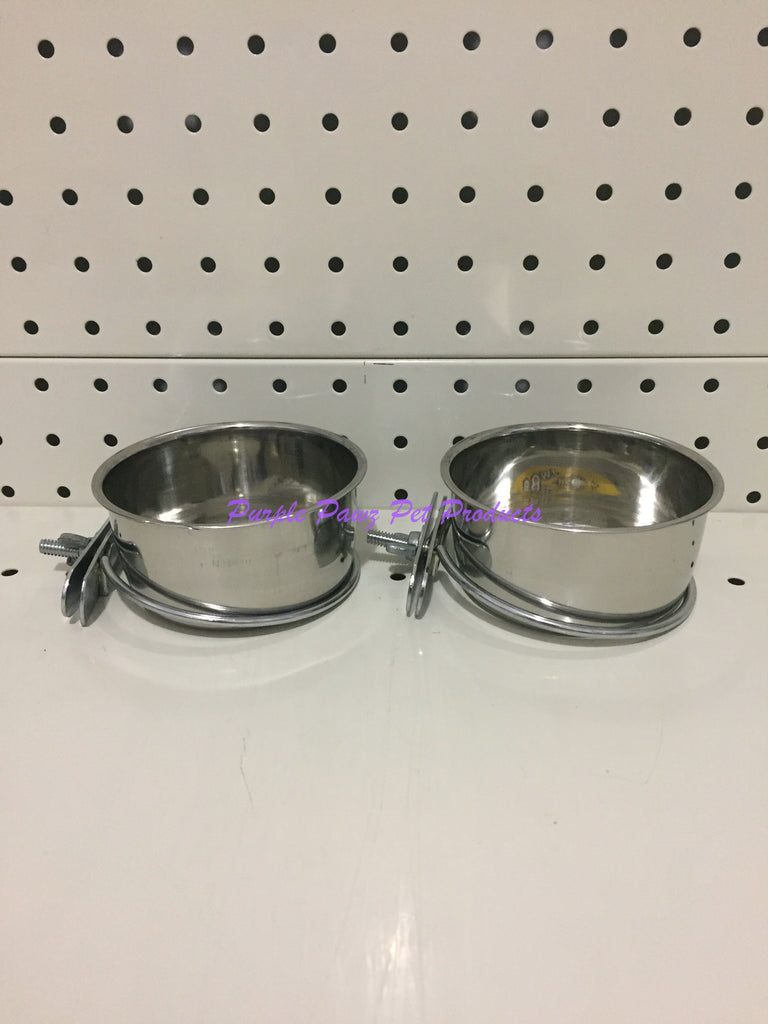 ~BIRD/PET BOWLS / STAINLESS STEEL / COOP CUPS / x2 / BOLT ON / 9.9CM DIA~